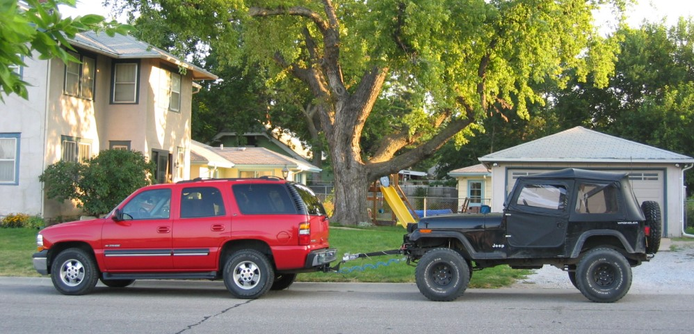 yj flat tow setup ready to tow